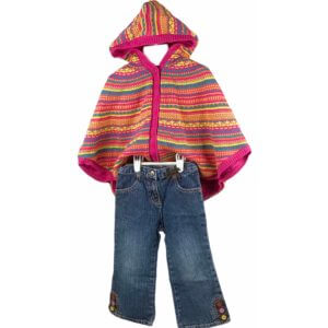 Sweater Poncho with Hoodie | Jeans