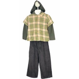 Button Down Shirt with Hoodie   Corduroy Pants